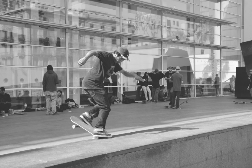 Skaters outside the MACBA